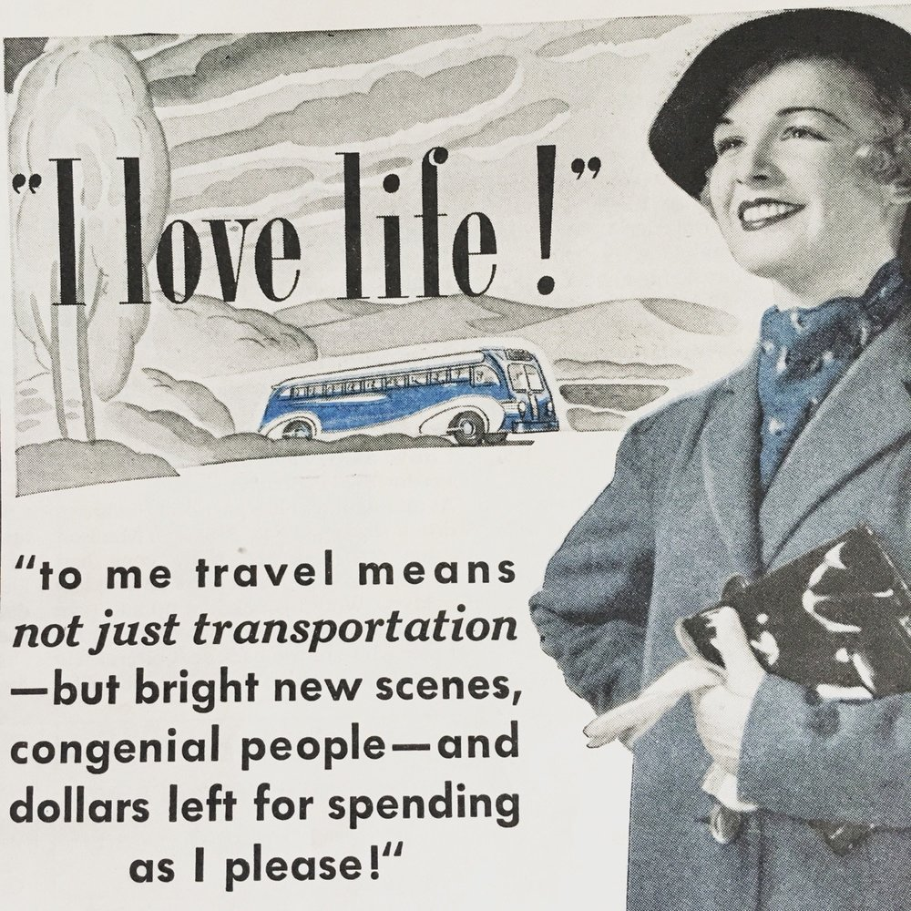 """Detail of an ad for Greyhound Bus Lines. The American Magazine. May 1937. Bus travel had become quite popular in the 1930s, especially after the 1934 film, It Happened One Night focused on the madcap adventures of an heiress and reporter traveling from Florida to New York by Greyhound bus. This sparked an overall sense of adventure and bus travel became more popular. By 1936, Greyhound added more buses and routes to their line, and by 1937 many new stations were built in the classic""""Streamline Moderne"""" style that became synonymous with bus travel."""