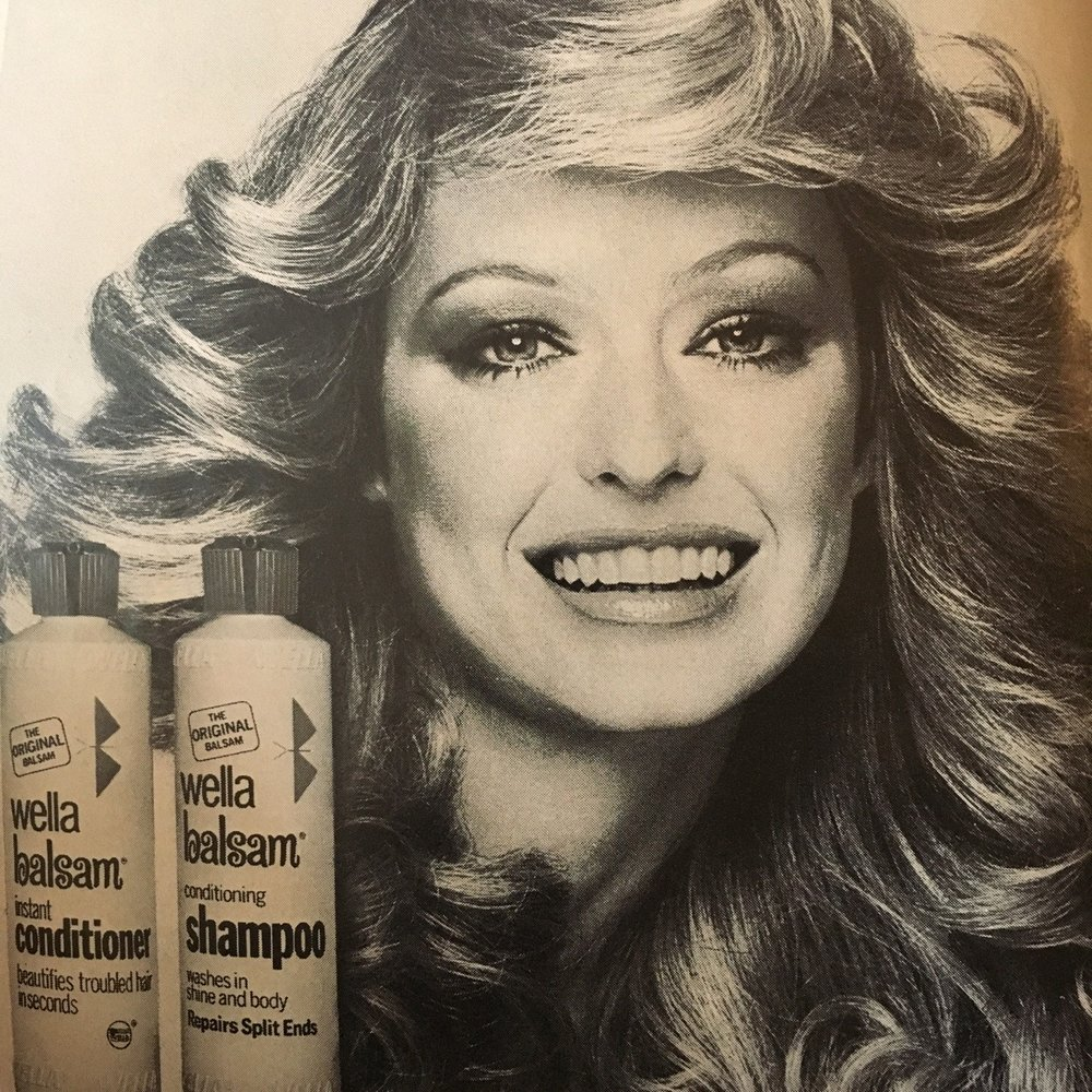 Wella Balsam. Mademoiselle. May 1976. Gotta get that feathered hair shiny!