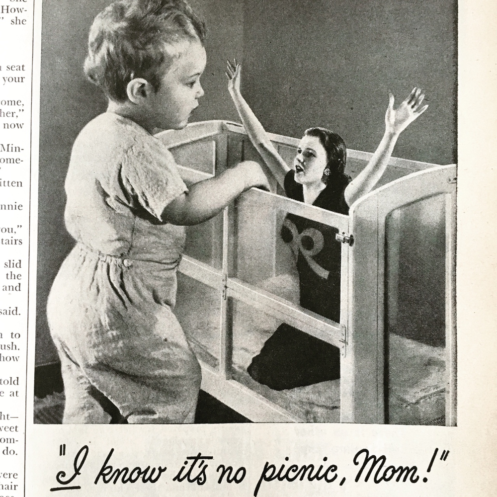 """I know it's no picnic, Mom!"" Johnson's Baby Oil and Baby Powder ad. Woman's Day. May 1946.   So, who's really in control? Hmmmm…"
