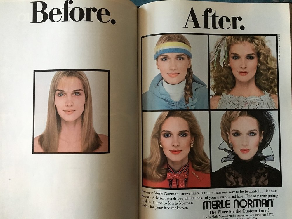 """Merle Norman. Cosmopolitan. May 1983. Back in the'80s, makeover studios were quite the rage at the local mall, but the originator of the modern makeover was a woman by the name of Merle Norman, who started to formulate her own cosmetic products in her kitchen and opened her first studio in Los Angeles in 1931. The theory behind the business was that if she could just get women to try the products first, they'd see the value and would become loyal customers. As a matter of fact, the term""""try before you buy"""" was coined by Merle Norman herself due to this philosophy. She also created opportunities for women to own their own makeover studios through franchising, opening the door for ladies to enter the world of entrepreneurship. Ms. Norman knew that makeup could be empowering and transformative, and she was right."""