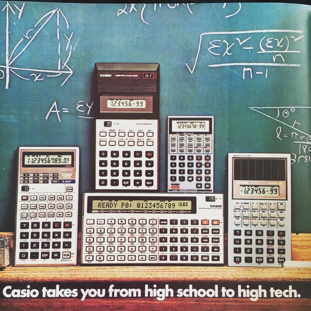 "Casio calculators. OMNI. April 1984. All I keep thinking is that Kraftwerk song, ""Pocket Calculator."""