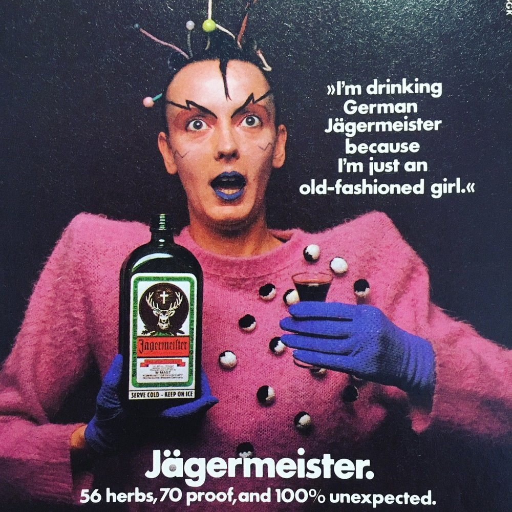 That is the one and only avant-garde icon, Klaus Nomi in a Jagermeister ad which ran in the April 21, 1980 issue of New York Magazine.