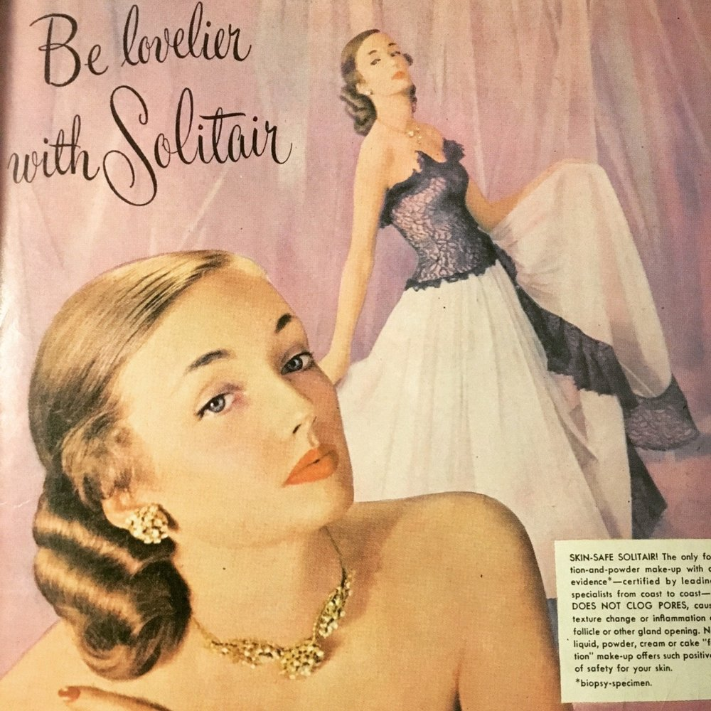 Solitair Cosmetics ad. True Story Magazine. April 1948. Was trying to find some information on the Solitair brand, which was popular in the '40s and '50s, particularly for their Cake Makeup, which is still available online.