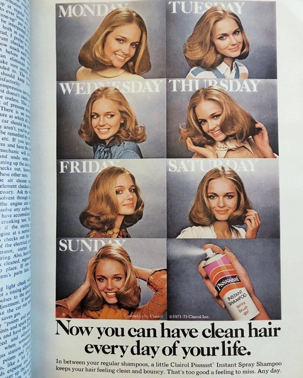 Psssst Instant Shampoo ad. Mademoiselle. April 1976.