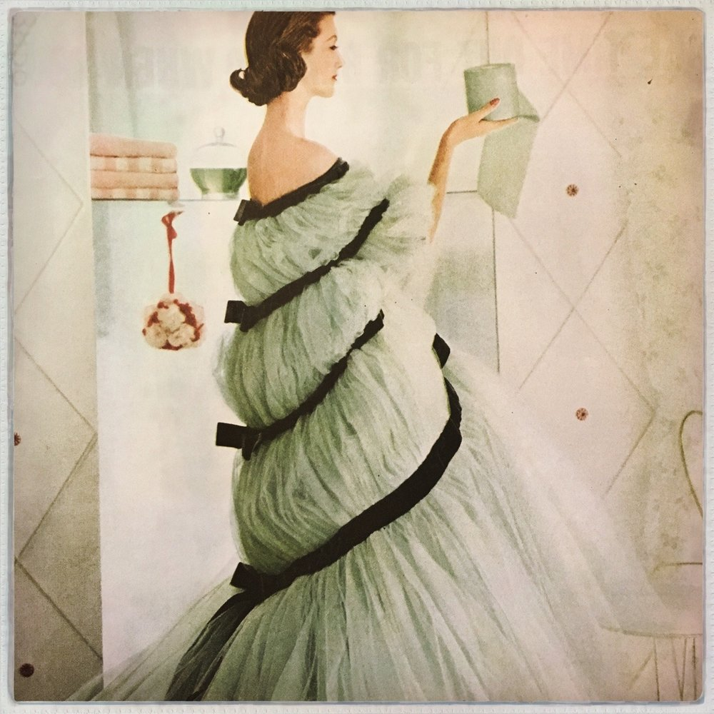 Soft Weave by Scott ad detail. Because toilet paper should be elegant. Ladies' Home Journal. April 1957.