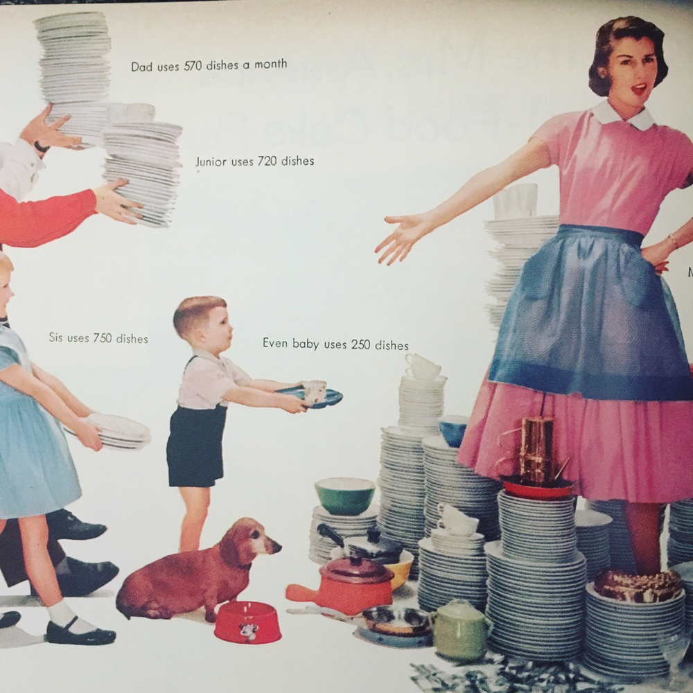 """Dad uses 570 dishes a month. Junior uses 720 dishes. Sis uses 750 dishes. Even baby uses 250 dishes. Mom uses 770 dishes (and still gets stuck doing them)."" Lux Dishwashing Detergent ad. Better Homes and Gardens. April 1956."