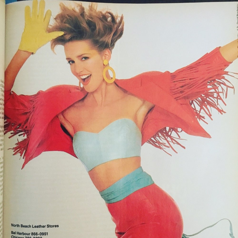 North Beach Leather ad. Vogue. April 1986.