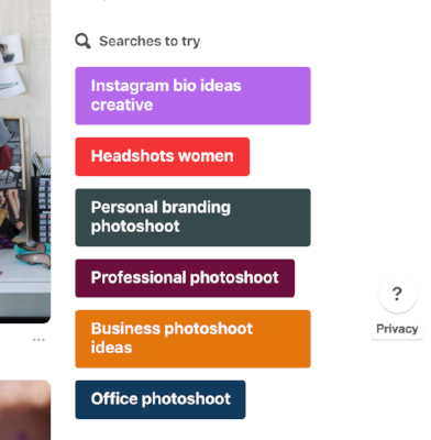 Pinterest searches to try suggestion box