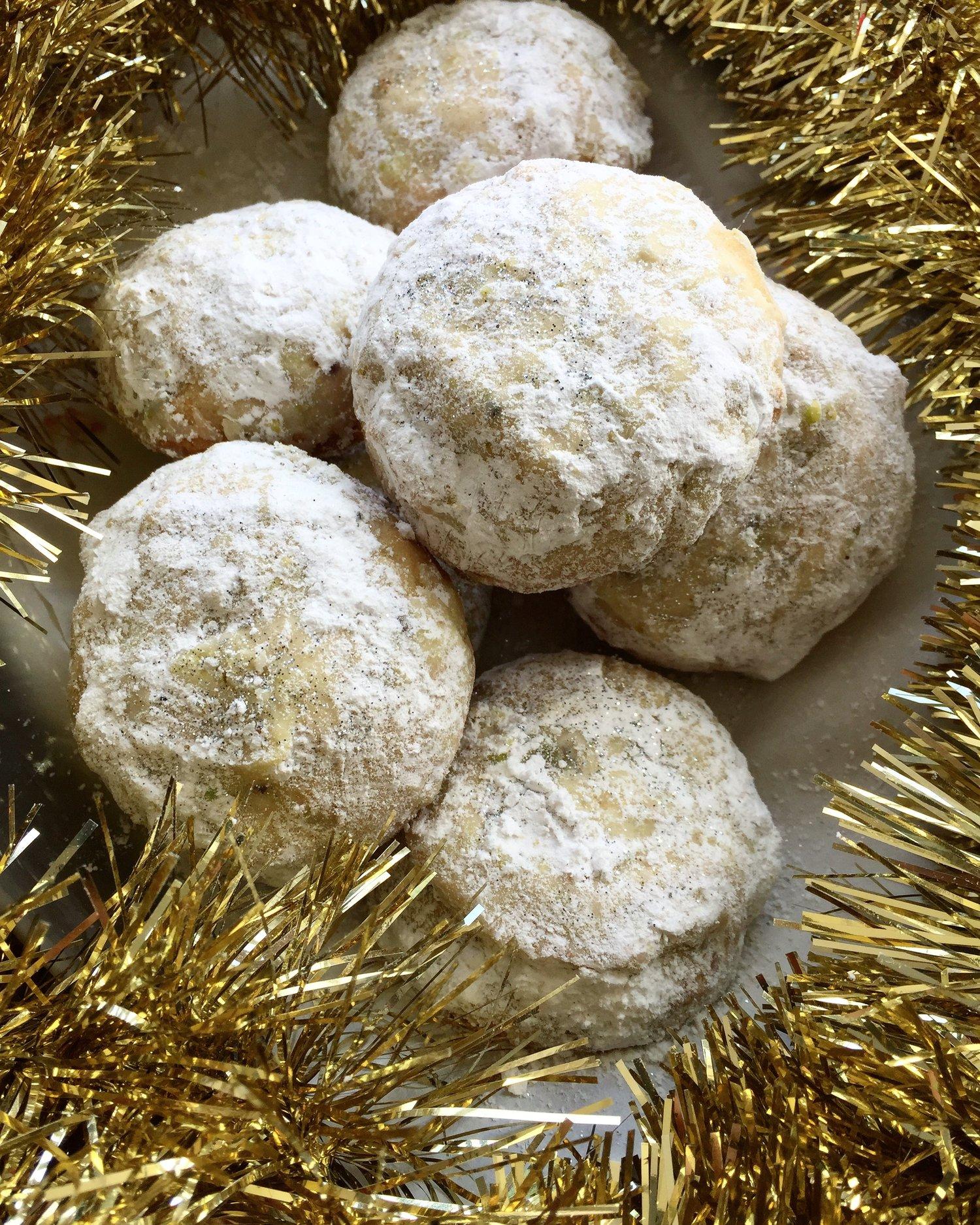 Rosewater Pistachio Snowballs 1 2 Dozen