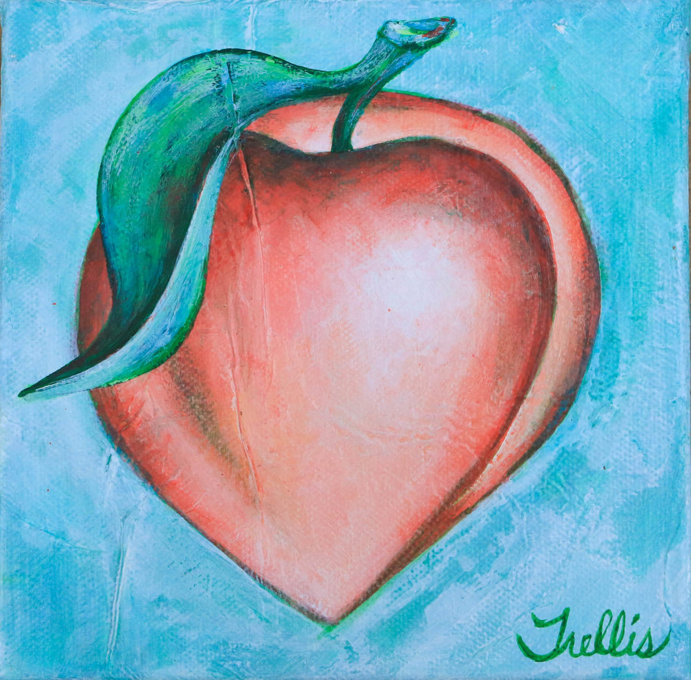 """Extra Large Peach""    (24""x24"") Acrylic on canvas."