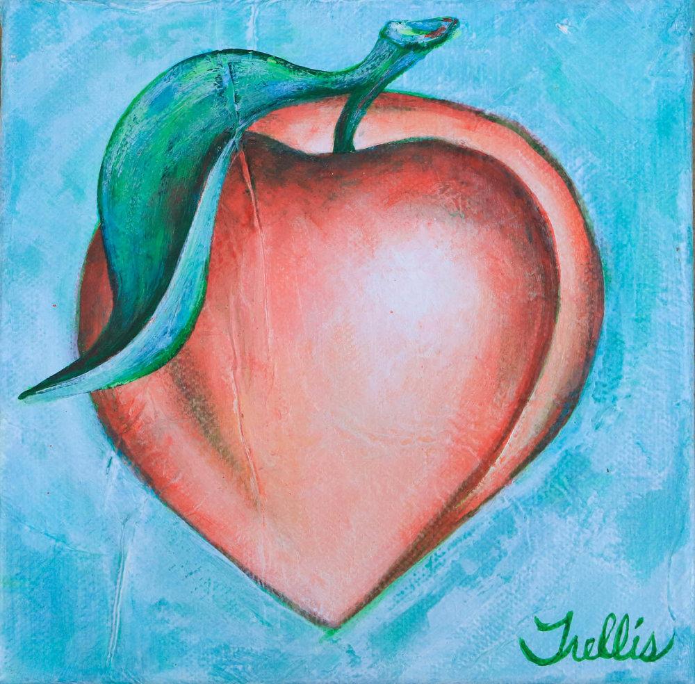 """""""Extra Large Peach""""    (24""""x24"""") Acrylic on canvas."""
