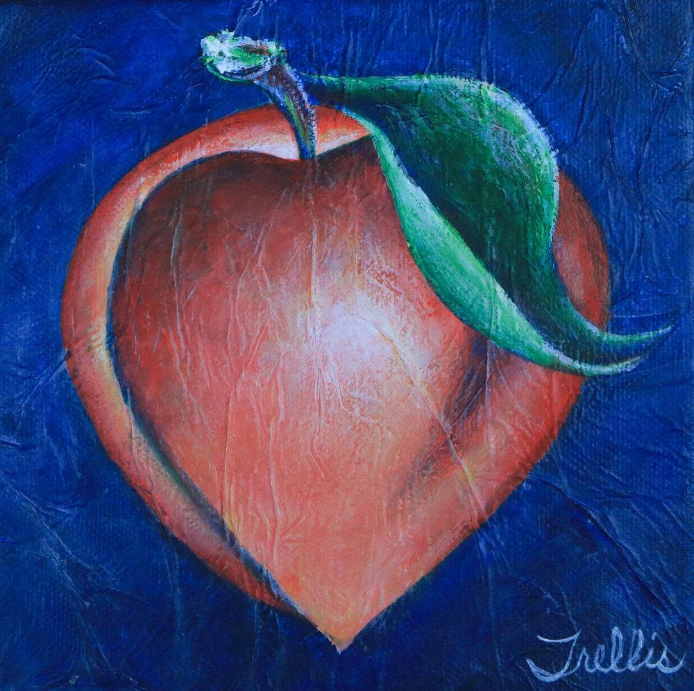 """""""Large Peach""""    (10""""x10"""") Acrylic on canvas."""