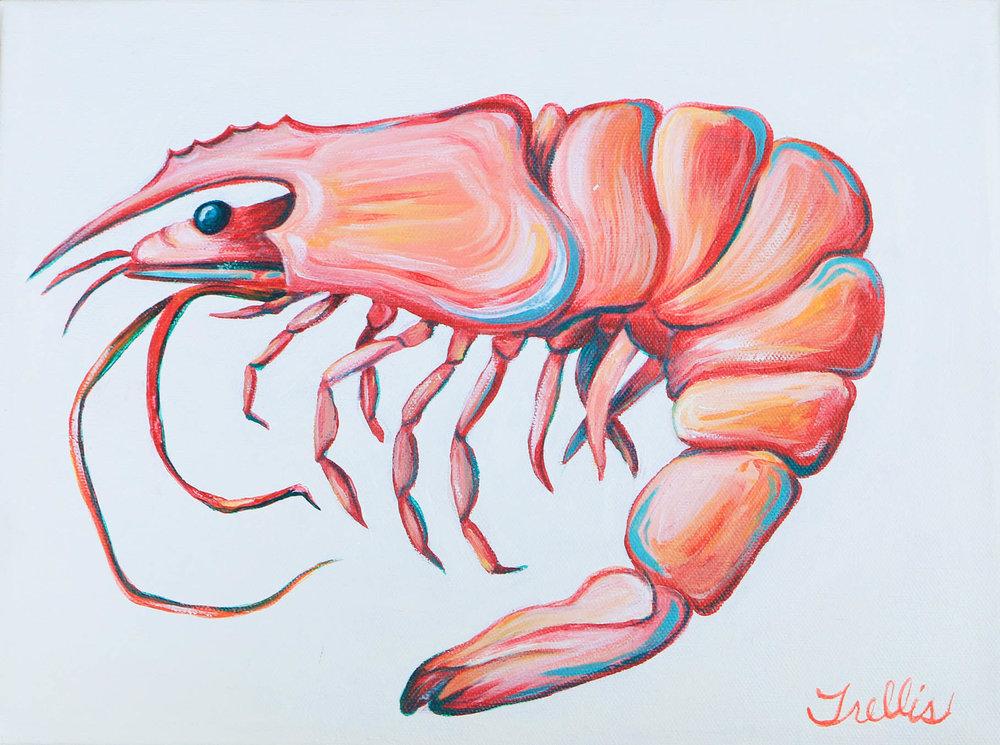 """""""Shrimp""""   (12""""x9"""") Acrylic on canvas."""