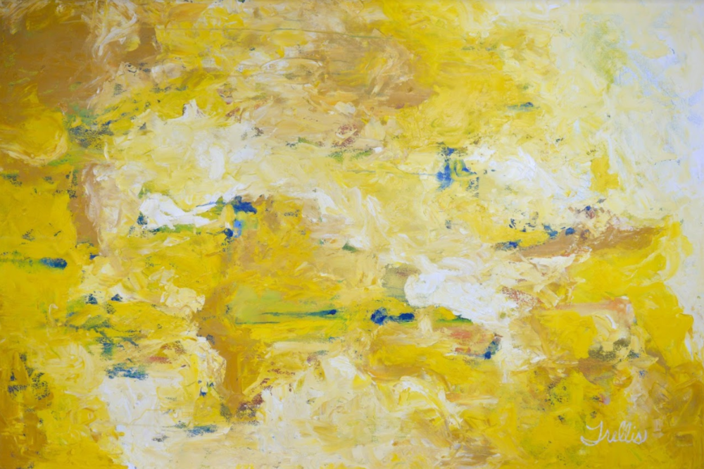 """""""Yellow Non-Objective""""    (72""""x48"""") Oil on canvas."""