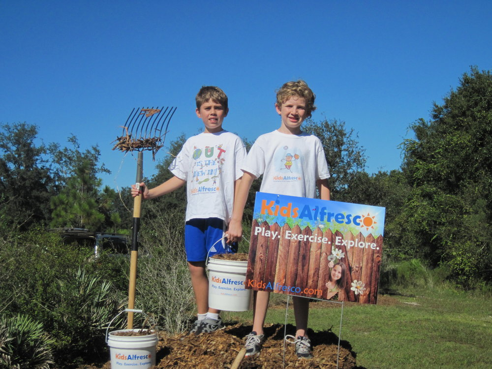"- Mason and friend at the age of 10 proudly pose for a picture after a successful reclamation project at Brooker Creek Preserve in Tarpon Springs, Florida. Mason says ""I've learned over the years that you're never too young and it's never too late to start something and get involved; you simply have to decide to do it and jump in - just make sure you're slightly taller than your pitch fork!"""
