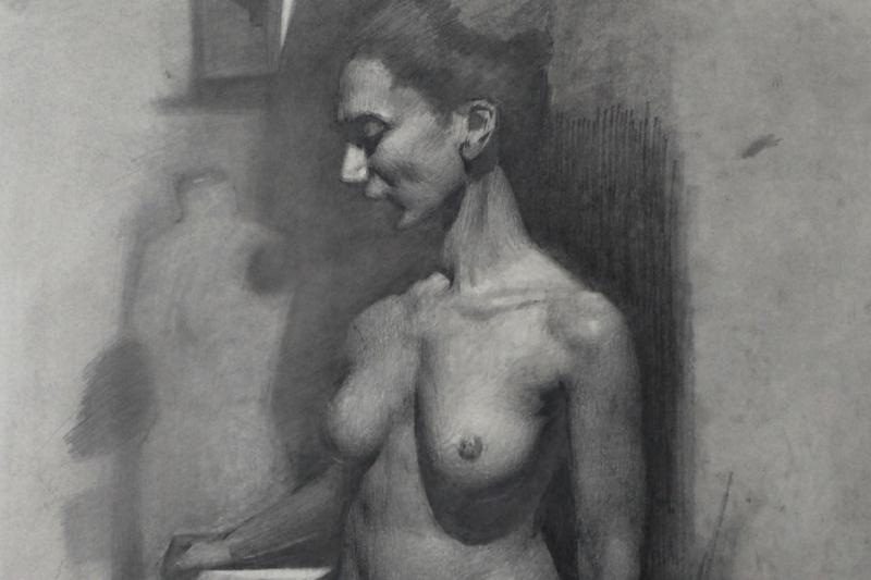 Edmond Rochat Figure Drawing graphite on paper 18x14.jpg