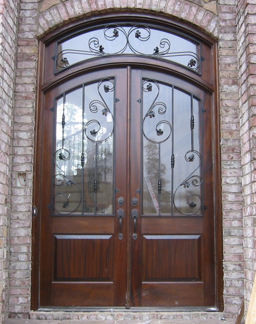 Mahgoany Iron Double Transom Door.JPG