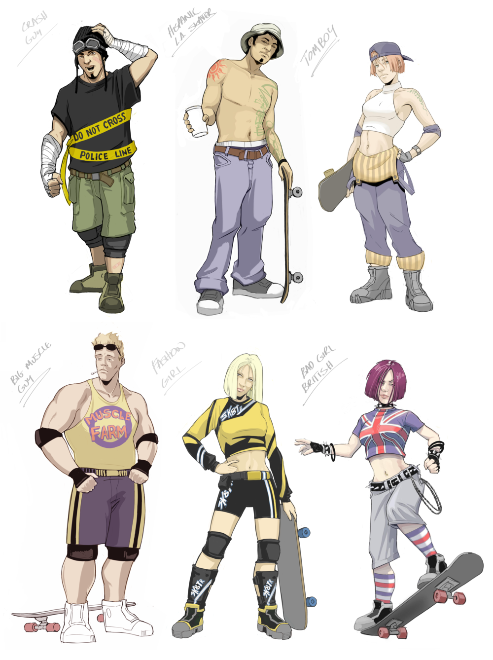 """In the early stages of the project I helped with some character design.  Both """"Crash Guy"""" and """"Bad Girl British"""" made the final roster of characters."""