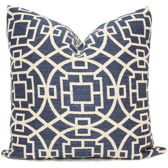 Blue designer etsy pillow