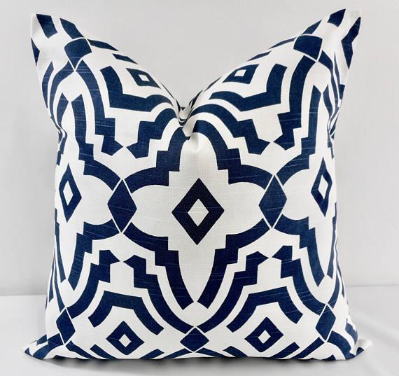 designer blue pillows on etsy