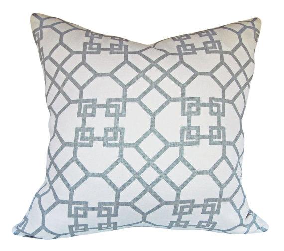 Blue designer pillows on etsy