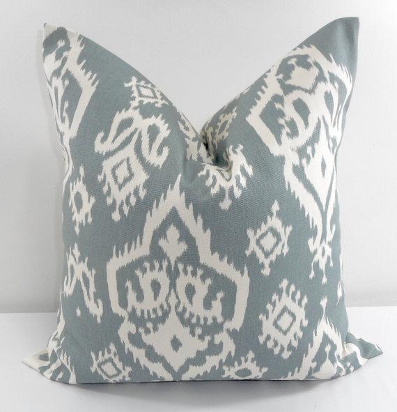 blue designer pillow on etsy