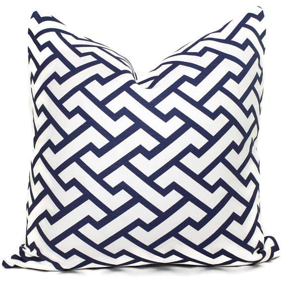 designer blue pillow on etsy