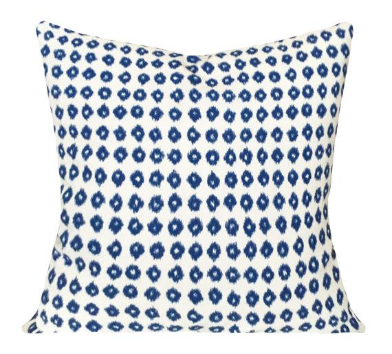 blue and white pattern designer pillow etsy