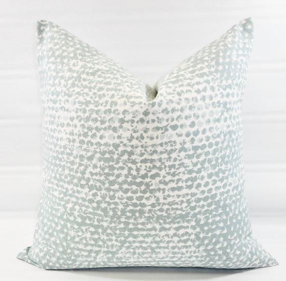 light blue designer pillow- etsy