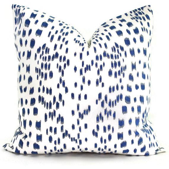 Blue and white designer pillows