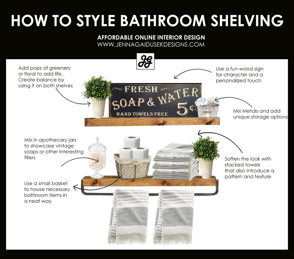 How to style bathroom shelving