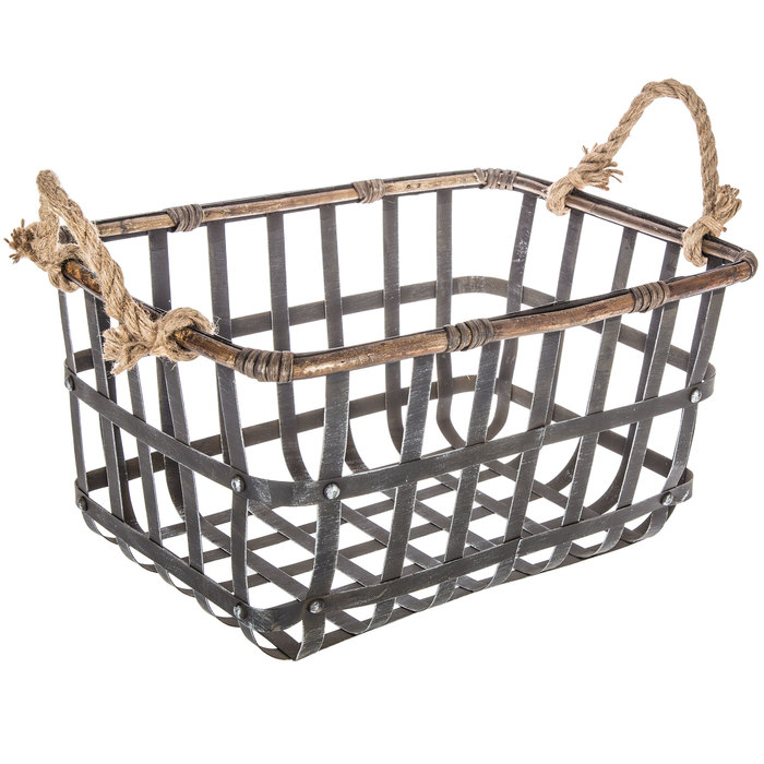 $29.99 Metal Basket with Jute Handles - Large