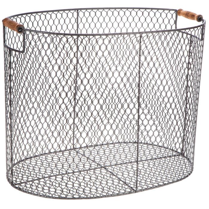 $24.99 Black Oval Metal Basket - Large