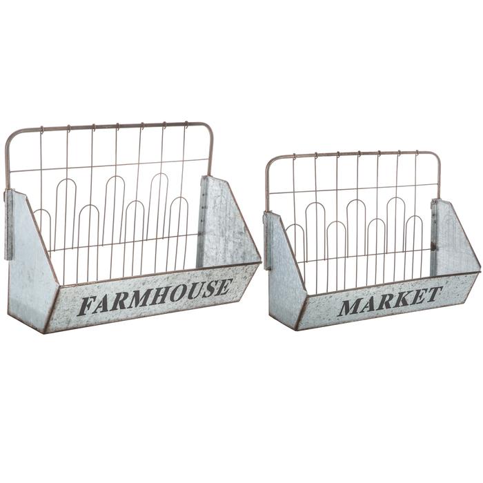 $49.98 Farmhouse Market Metal Wall Basket Set