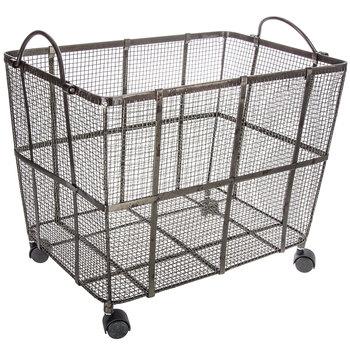 $34.99 Metal Mesh Basket on Wheels - Large