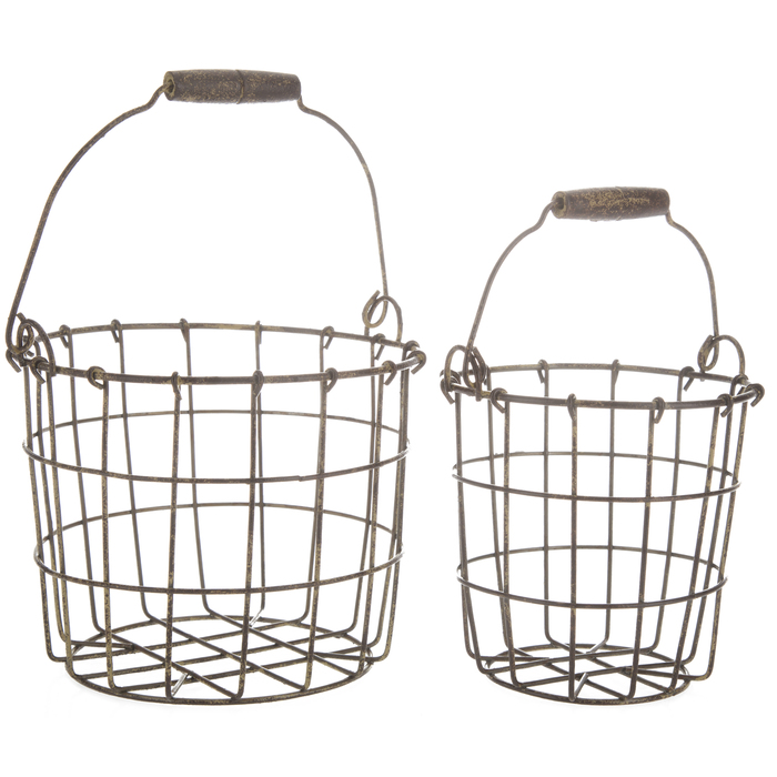 $12.98 Rustic Round Iron Basket Set