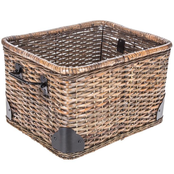 $24.99 Brown Rectangular Rattan Basket with Handles - Large