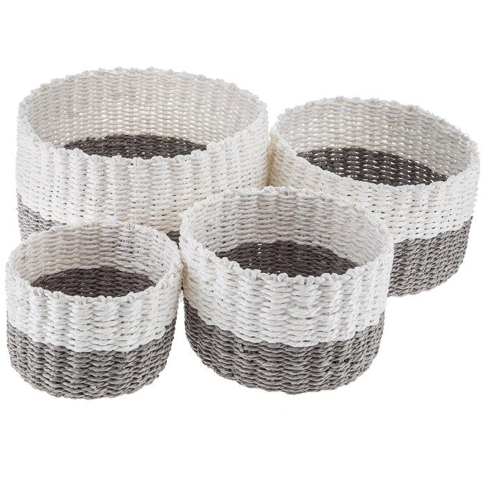 $35.96 Round Gray & White Woven Paper Basket Set