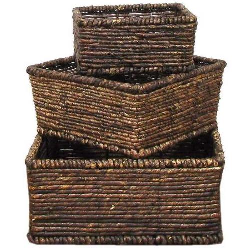 $20.97 Dark Brown Square Maize Basket Set