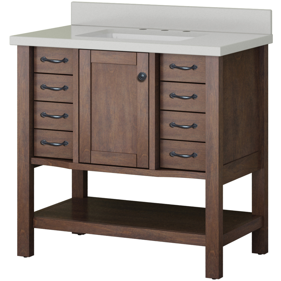 $  429 allen + roth Kingscote Espresso Undermount Single Sink Bathroom Vanity with Engineered Stone Top