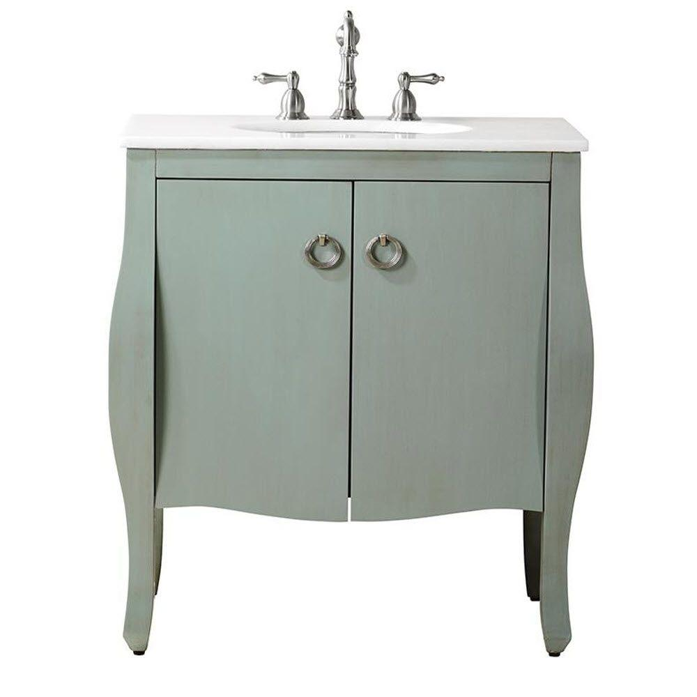 $420 Savoy 31 in. W x 22 in. D Bath Vanity in Blue with Marblet Vanity Top in White with White Basin