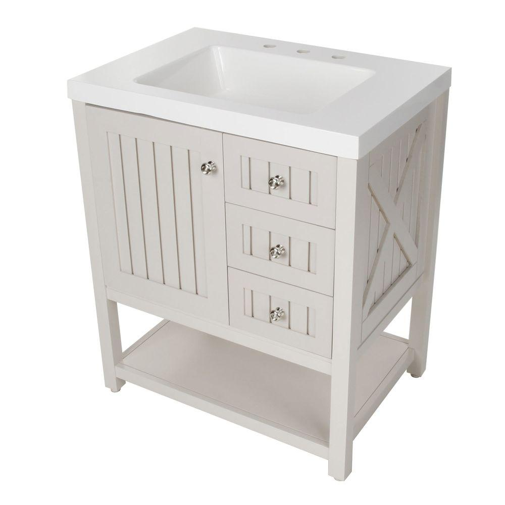 $  359 Seal Harbor 30-1/4 in. W Bath Vanity in Sharkey Gray with Vanity Top in White