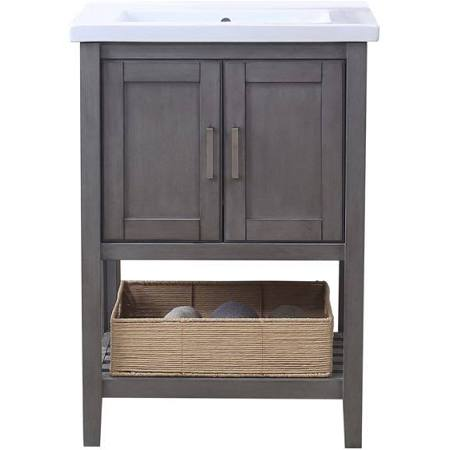 $  381 Legion WLF6021 Free Standing 24 in. Single Vanity with Mirror Faucet and Basket Light Gray