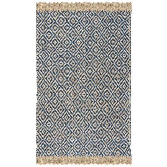 Safavieh Hand-Woven Natural Fiber Tropical Blue/ Natural Jute Rug (8' x 10')