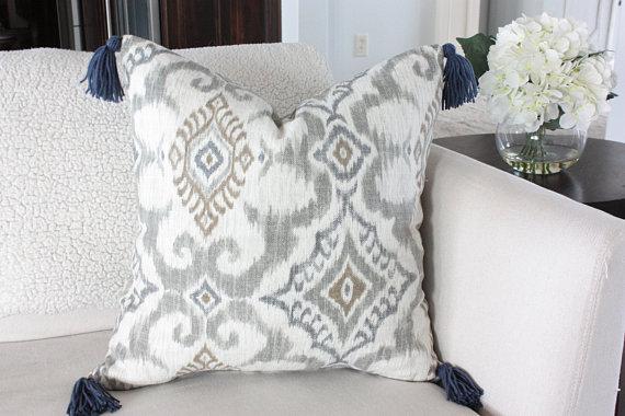 farmhouse ikat pillow with tassles
