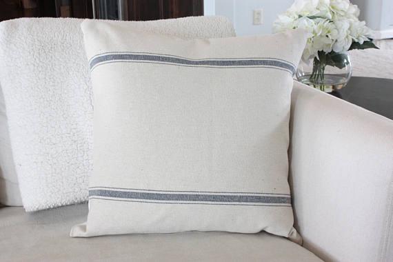 farmhouse french stripe pillow