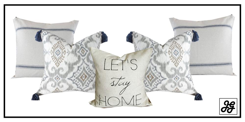Designer farmhouse pillow arrangements