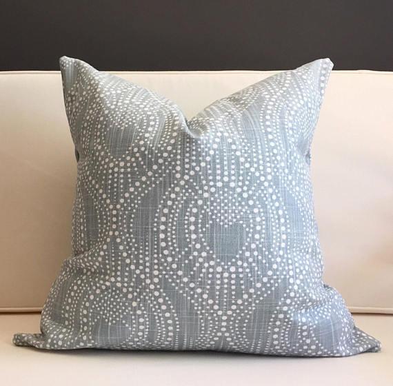 gray blue pattern pillow