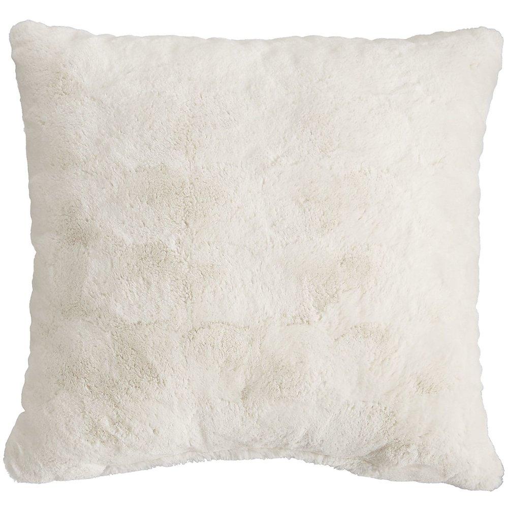 Fuzzy ivory throw pillow