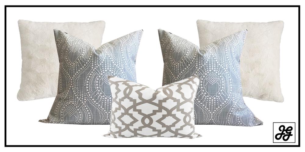 farmhouse neutral pillow arrangement